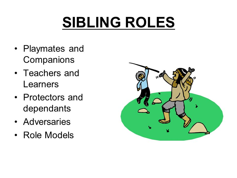 SIBLING ROLES Playmates and Companions Teachers and Learners
