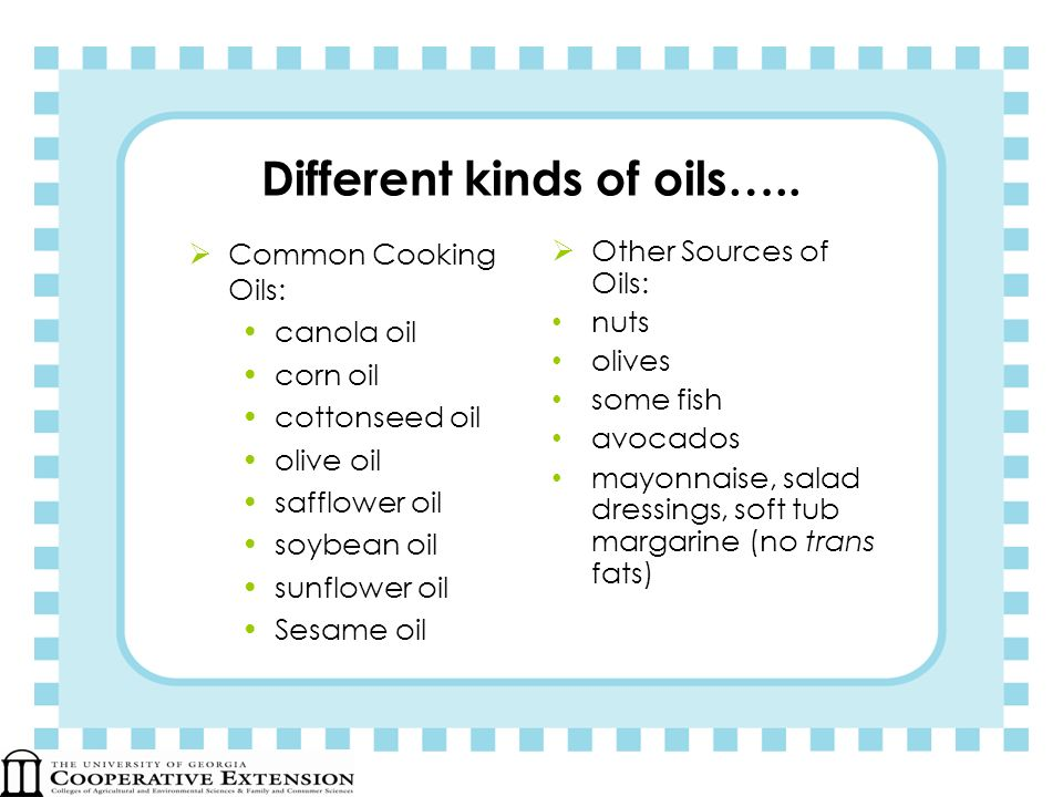 Different kinds of oils…..