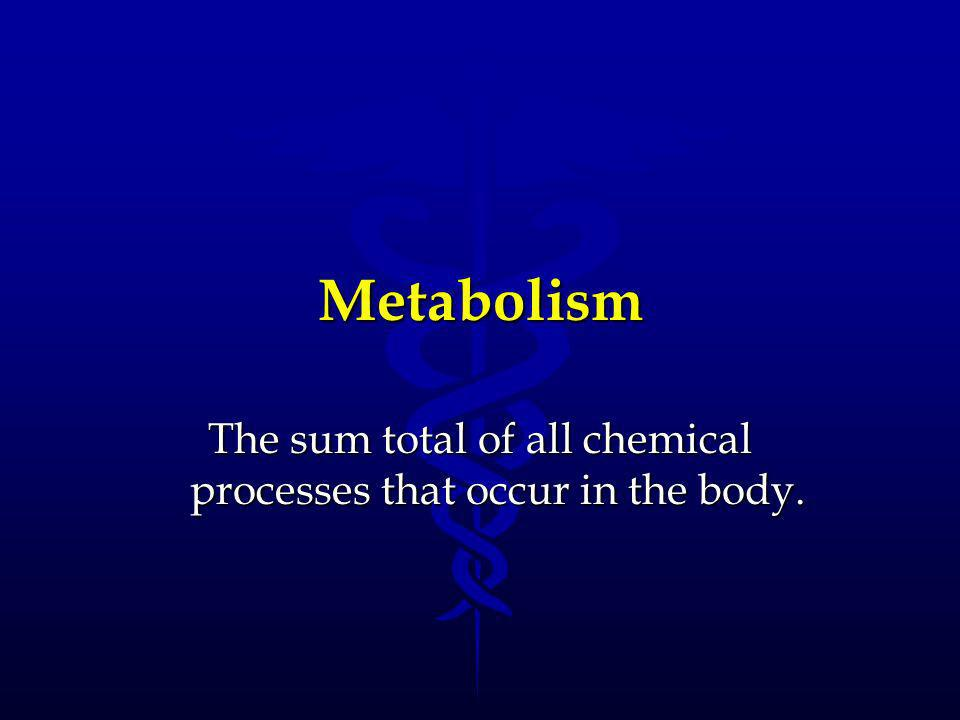 The sum total of all chemical processes that occur in the body.