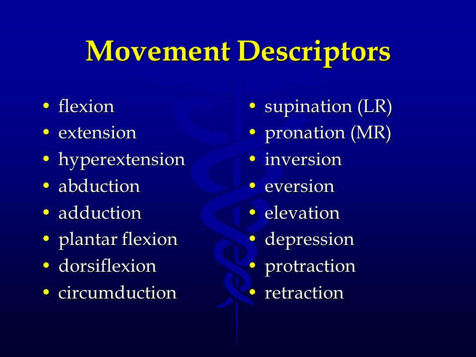 Movement Descriptors flexion extension hyperextension abduction