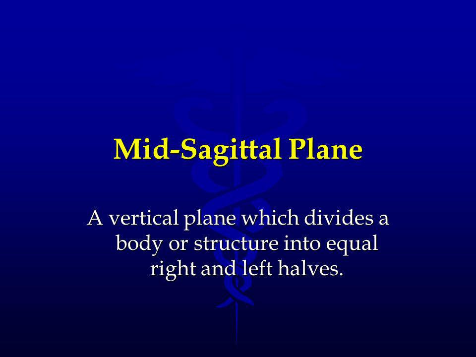Mid-Sagittal Plane A vertical plane which divides a body or structure into equal right and left halves.