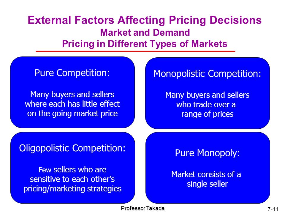 external factors affecting pricing decision Who determine the price structure of a product, top management, ceo, the entrepreneur, answer is no basically two factors, which affect the company price decision and strategy 1 internal factors affecting price.