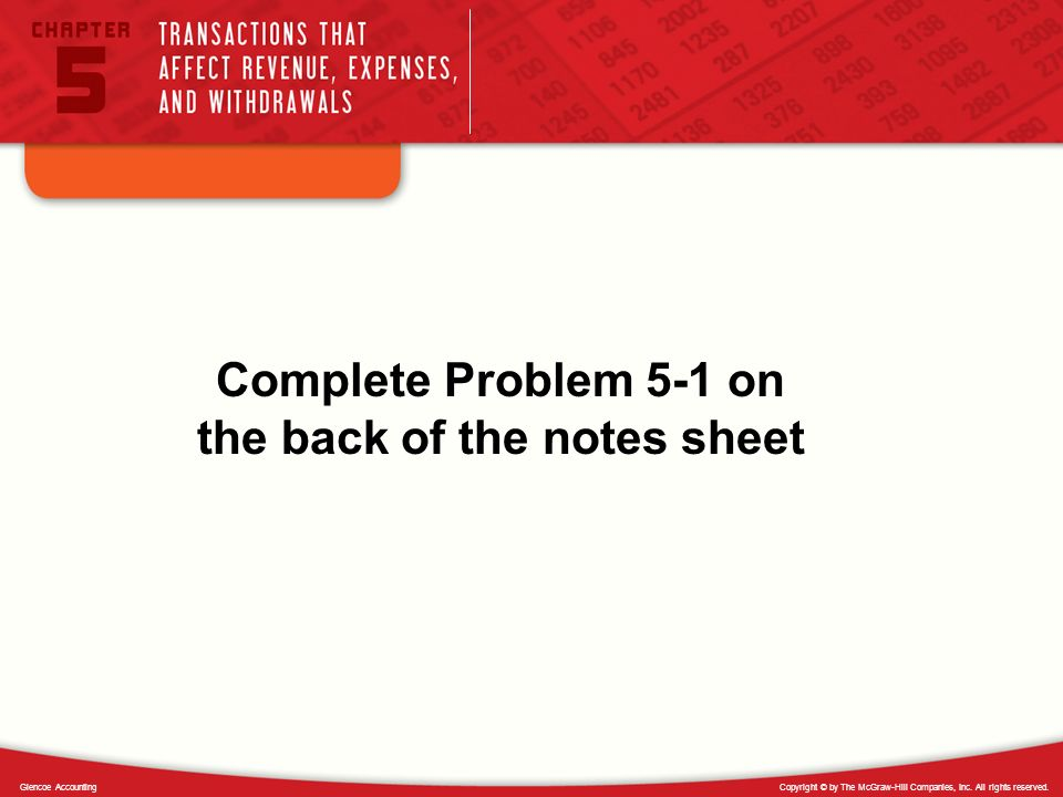 Complete Problem 5-1 on the back of the notes sheet