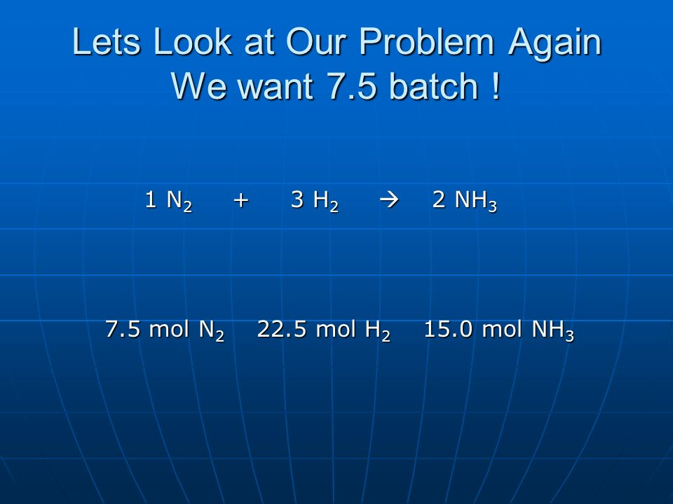 Lets Look at Our Problem Again We want 7.5 batch !