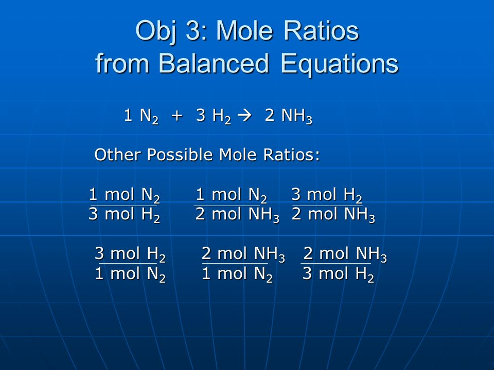Obj 3: Mole Ratios from Balanced Equations
