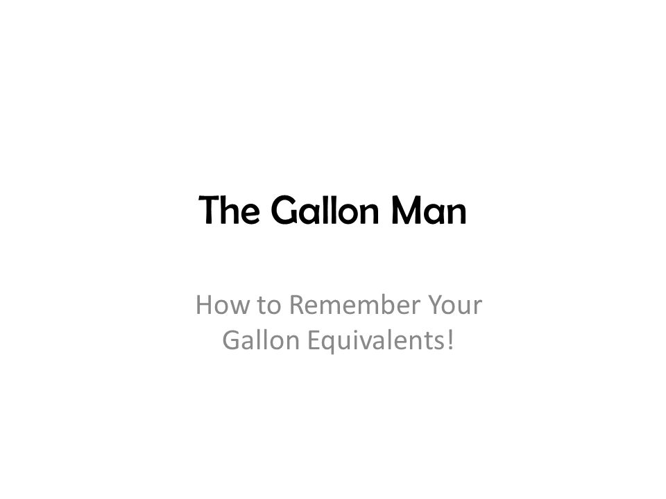 How to Remember Your Gallon Equivalents!