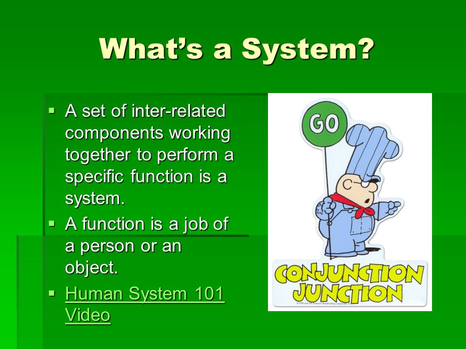 What's a System A set of inter-related components working together to perform a specific function is a system.