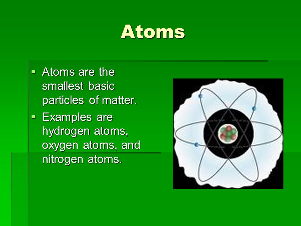 Atoms Atoms are the smallest basic particles of matter.