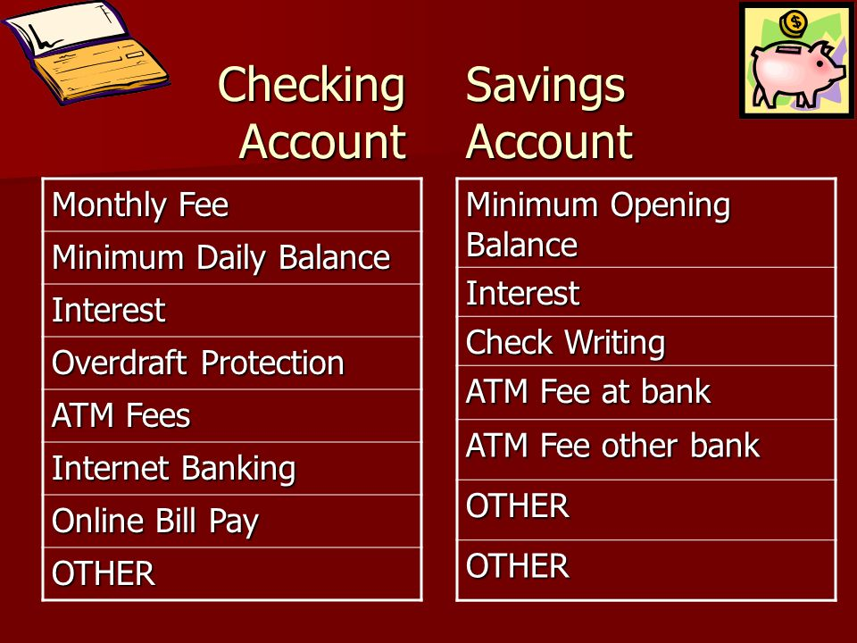 Checking Account Savings Account Monthly Fee Minimum Daily Balance