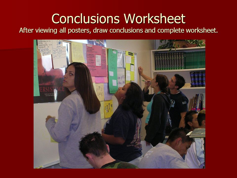Conclusions Worksheet After viewing all posters, draw conclusions and complete worksheet.