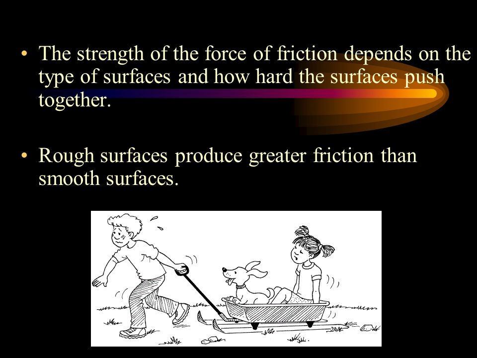 The strength of the force of friction depends on the type of surfaces and how hard the surfaces push together.