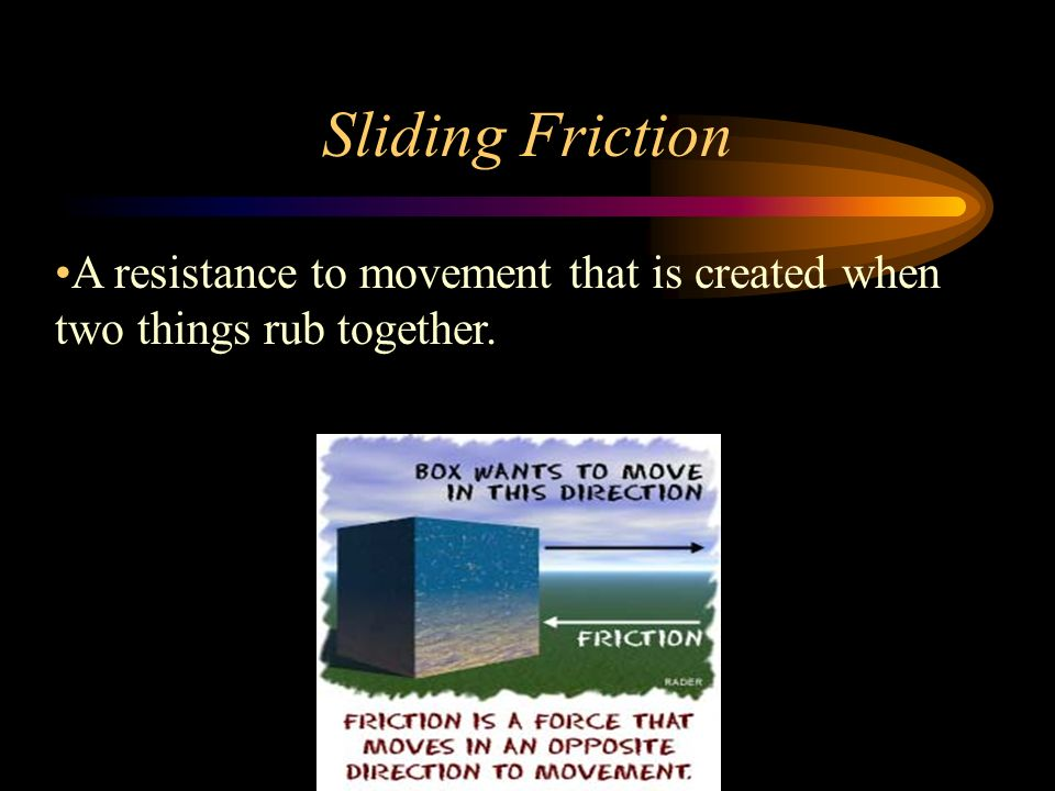 Sliding Friction A resistance to movement that is created when two things rub together.