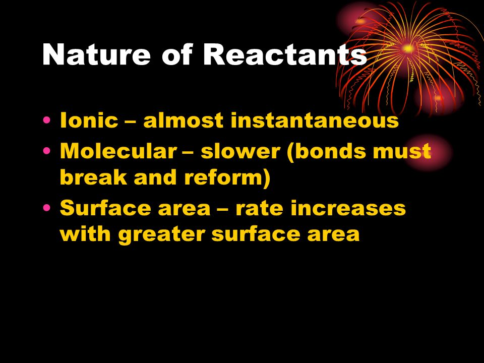 Nature of Reactants Ionic – almost instantaneous