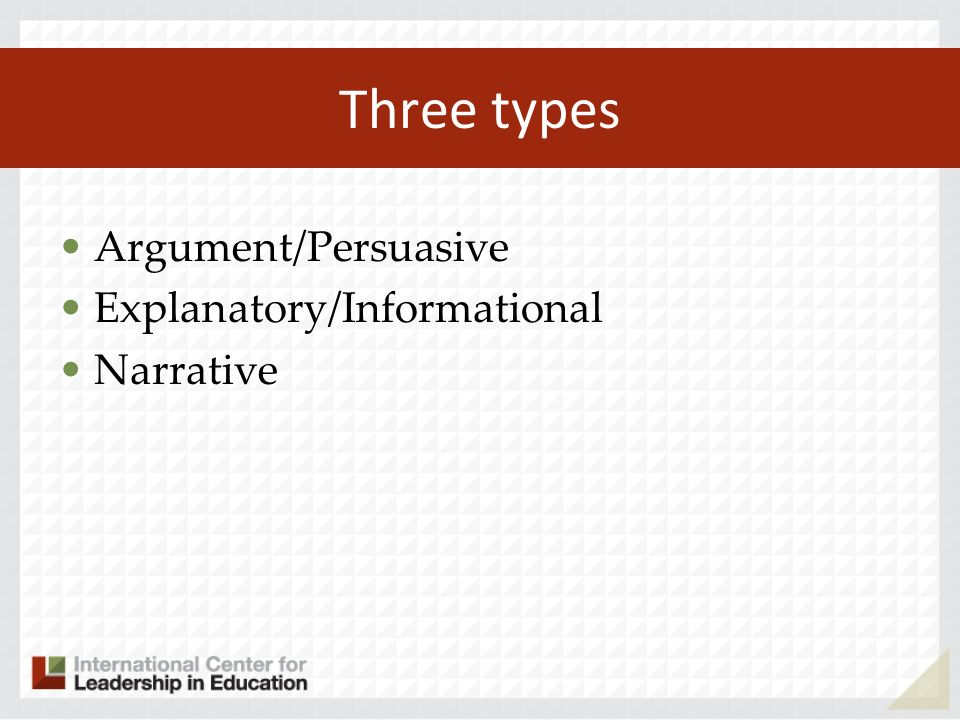 Three types Argument/Persuasive Explanatory/Informational Narrative