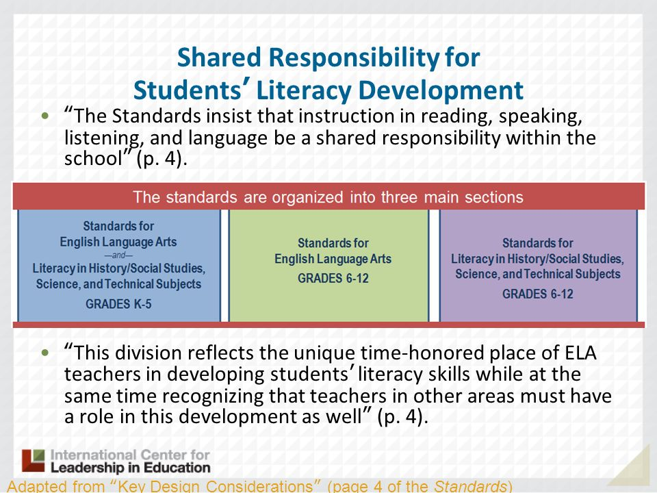 Shared Responsibility for Students' Literacy Development