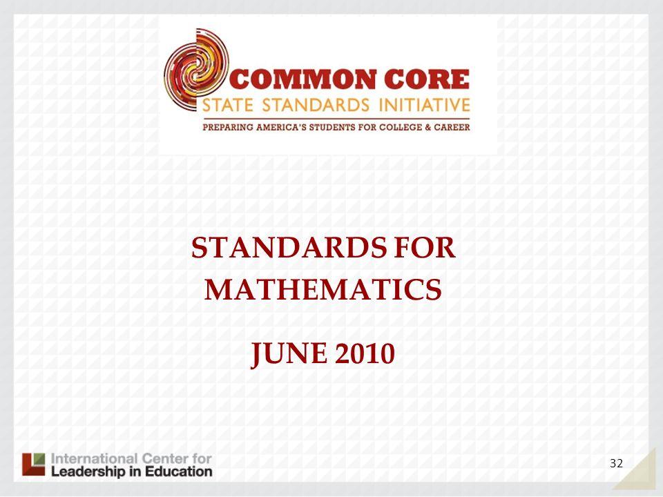 STANDARDS FOR MATHEMATICS JUNE 2010