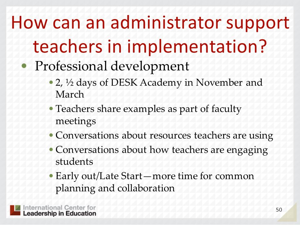 How can an administrator support teachers in implementation