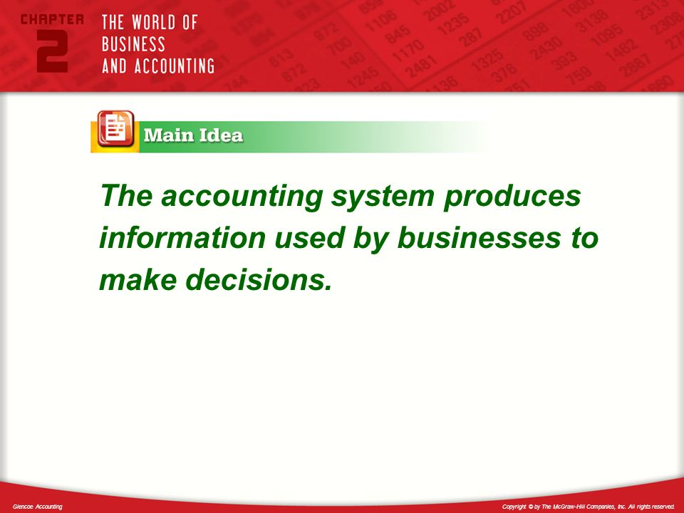 The accounting system produces information used by businesses to make decisions.