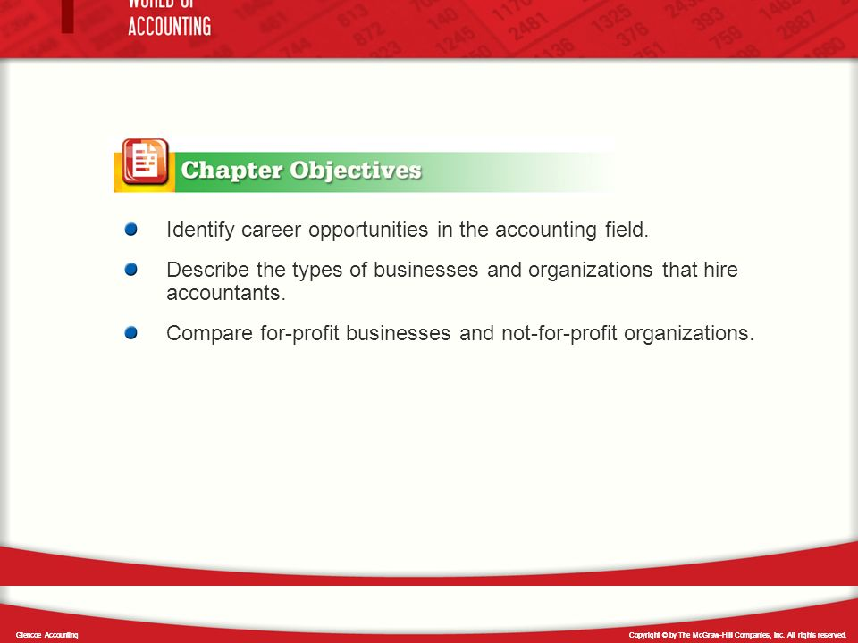 Identify career opportunities in the accounting field.