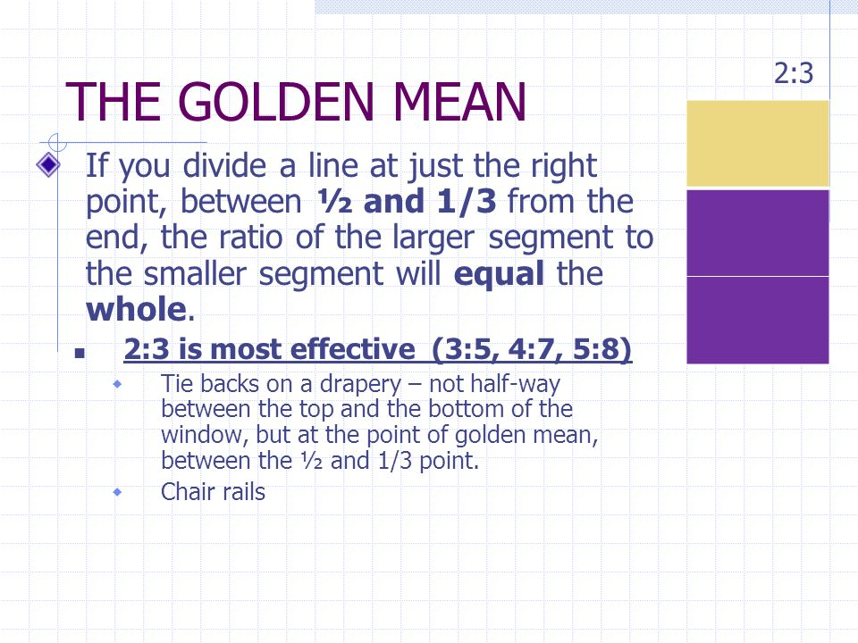 THE GOLDEN MEAN 2:3.