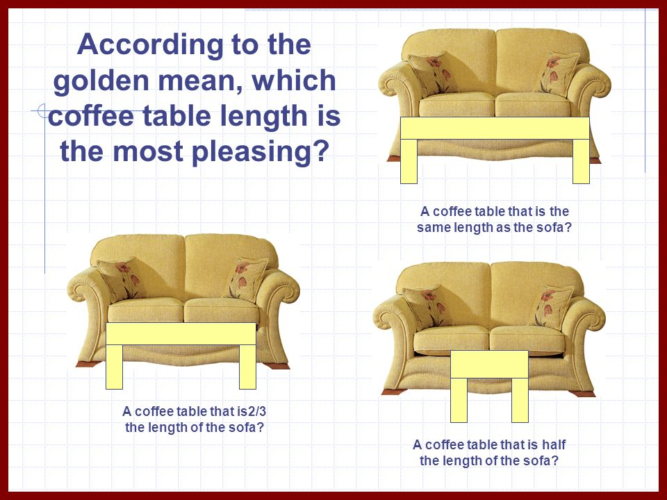 According to the golden mean, which coffee table length is the most pleasing