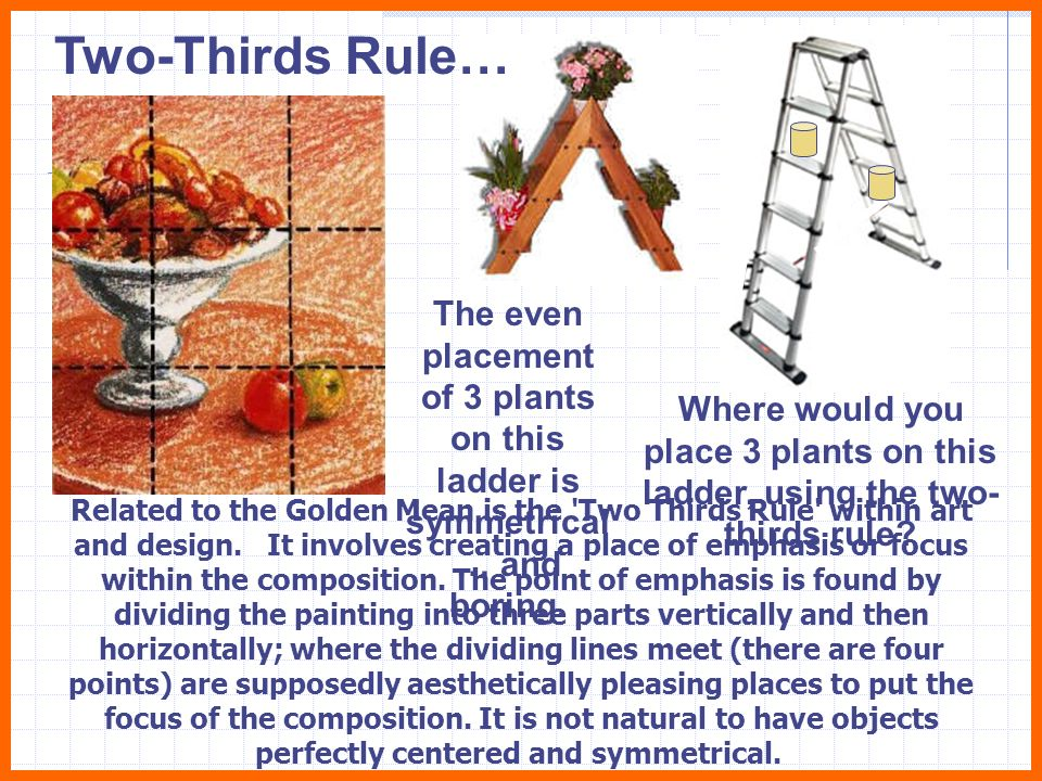 Two-Thirds Rule… The even placement of 3 plants on this ladder is symmetrical… and boring.