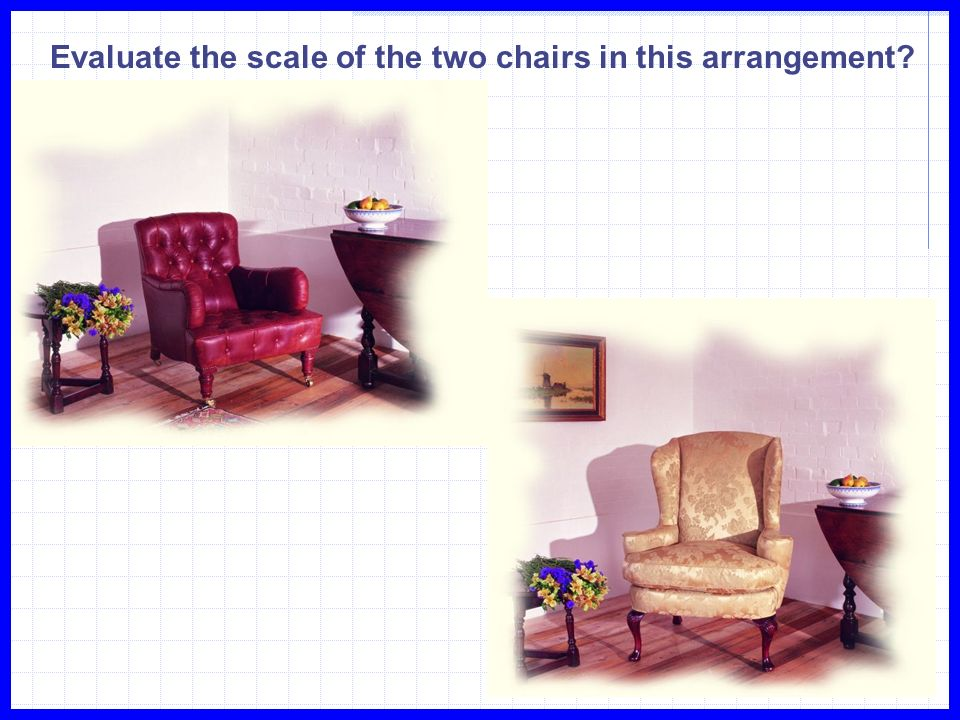Evaluate the scale of the two chairs in this arrangement