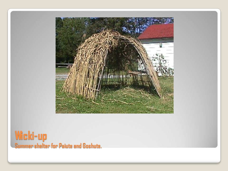 Wicki-up Summer shelter for Paiute and Goshute.
