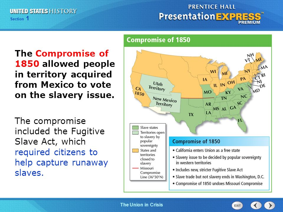 The Compromise of 1850 allowed people in territory acquired from Mexico to vote on the slavery issue.