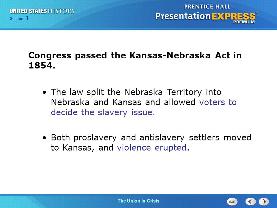 Congress passed the Kansas-Nebraska Act in 1854.