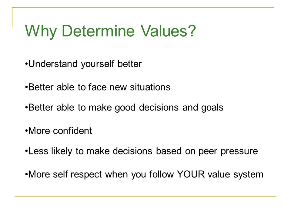 Why Determine Values Understand yourself better