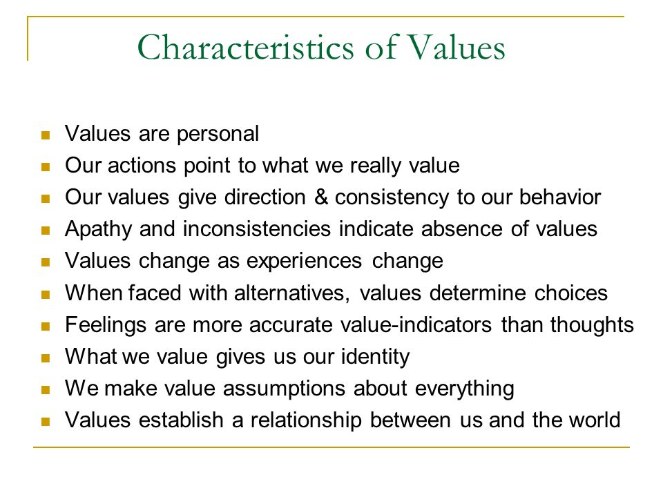 Characteristics of Values