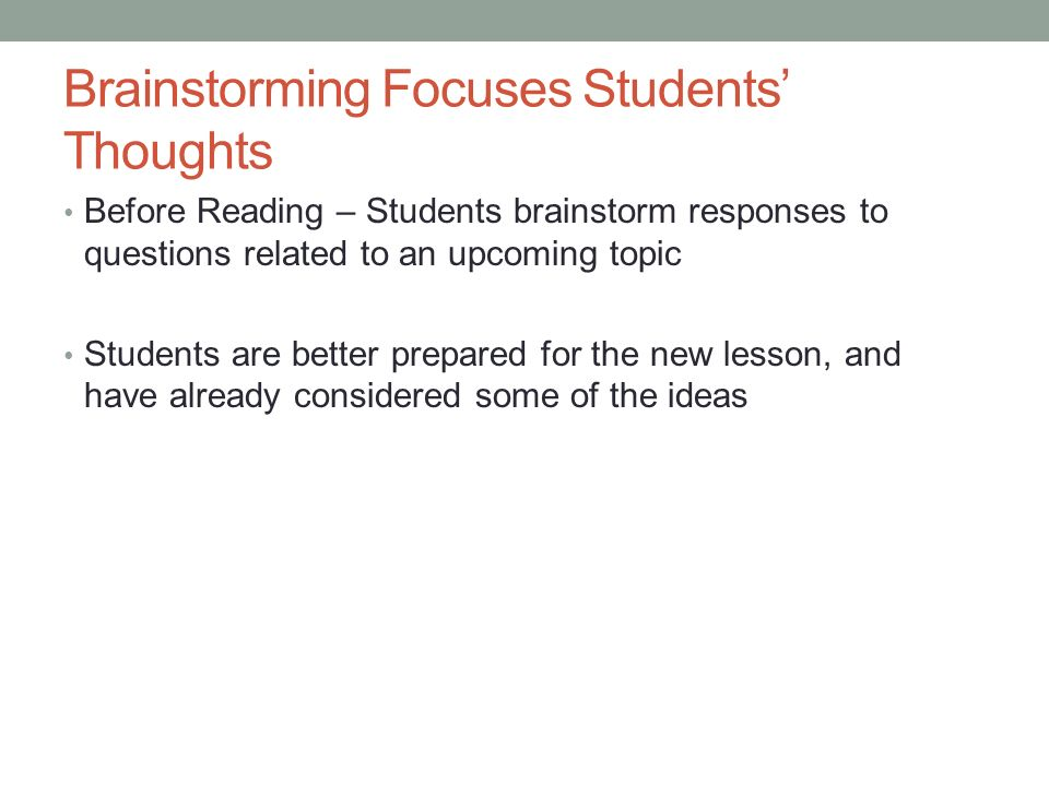 Brainstorming Focuses Students' Thoughts