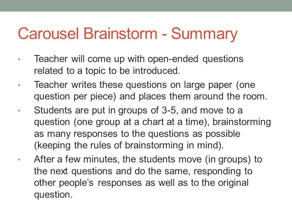 Carousel Brainstorm - Summary