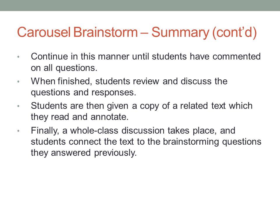 Carousel Brainstorm – Summary (cont'd)