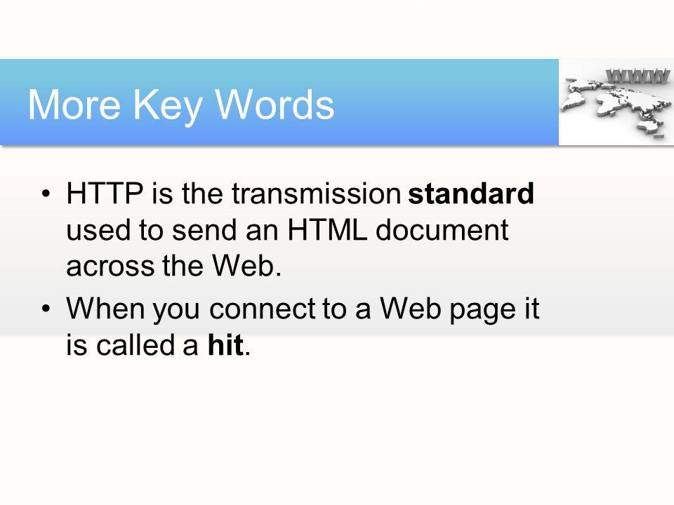 HTTP is the transmission standard used to send an HTML document across the WWW.
