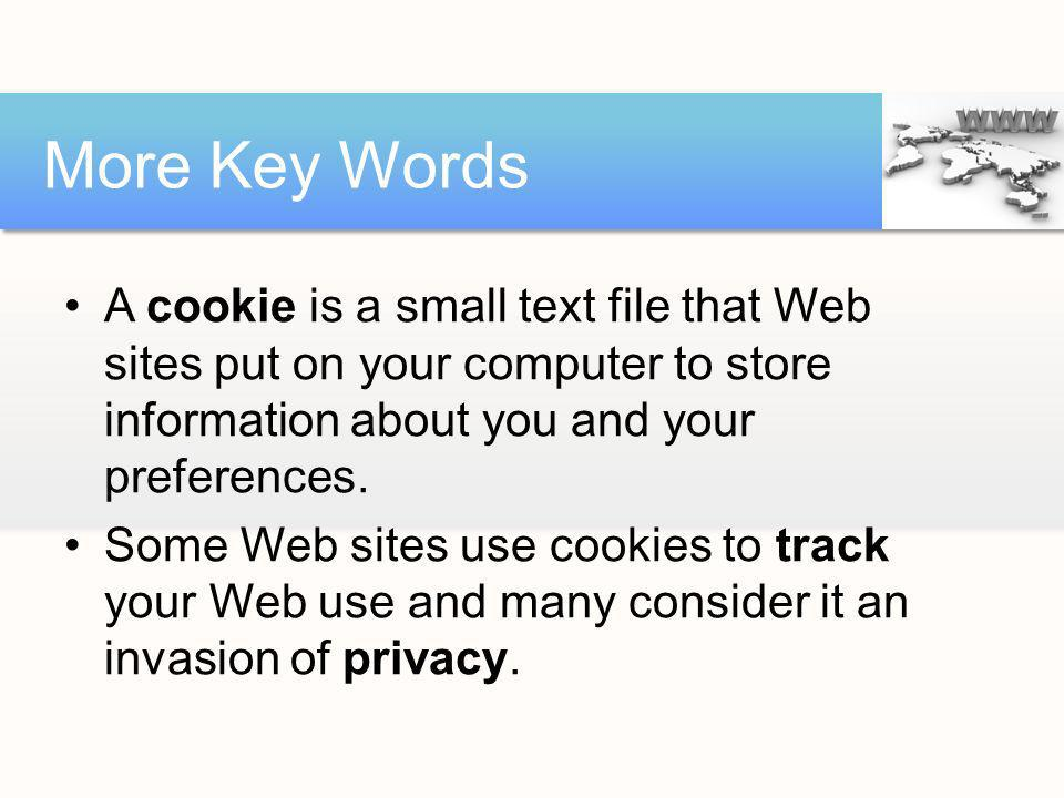 More Key Words A cookie is a small text file that Web sites put on your computer to store information about you and your preferences.