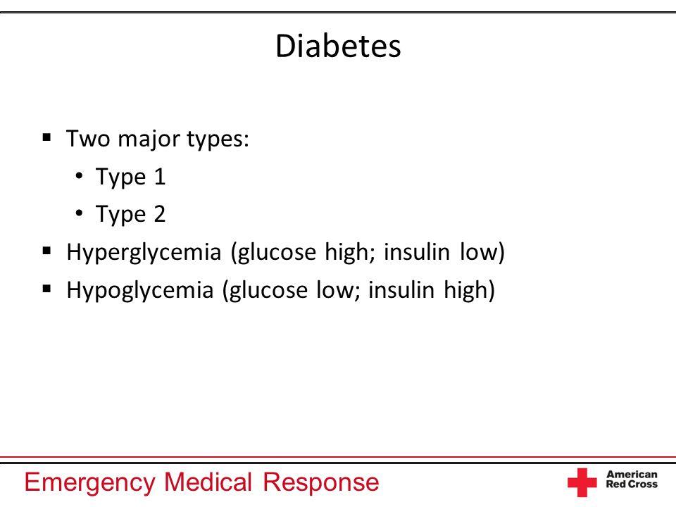 Diabetes Two major types: Type 1 Type 2