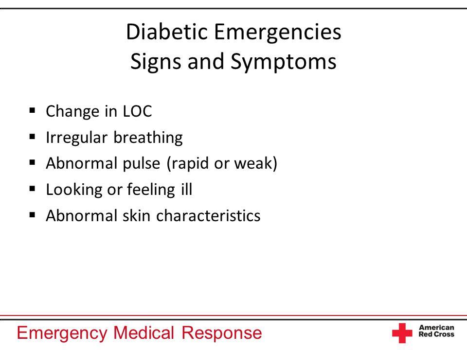 Diabetic Emergencies Signs and Symptoms