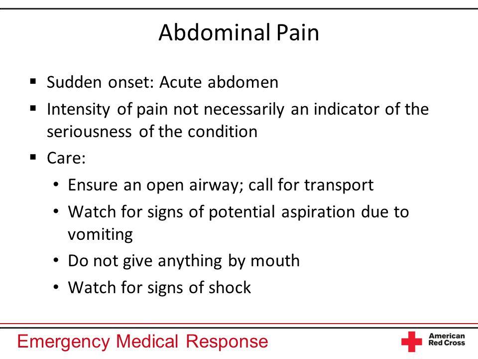 Abdominal Pain Sudden onset: Acute abdomen