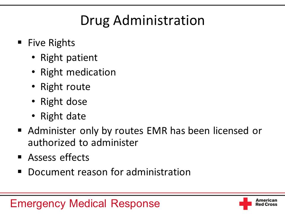Drug Administration Five Rights Right patient Right medication