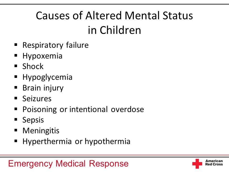 Causes of Altered Mental Status in Children