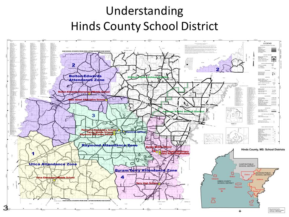 Map of Hinds County highlighting the Jackson Public School District