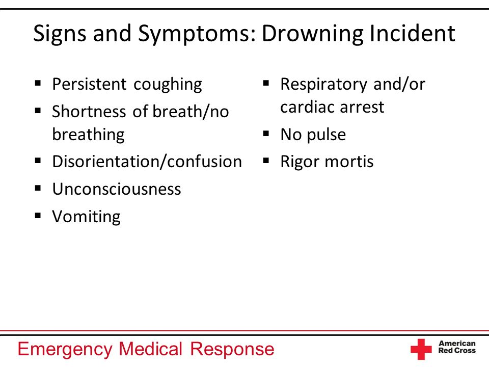 Signs and Symptoms: Drowning Incident