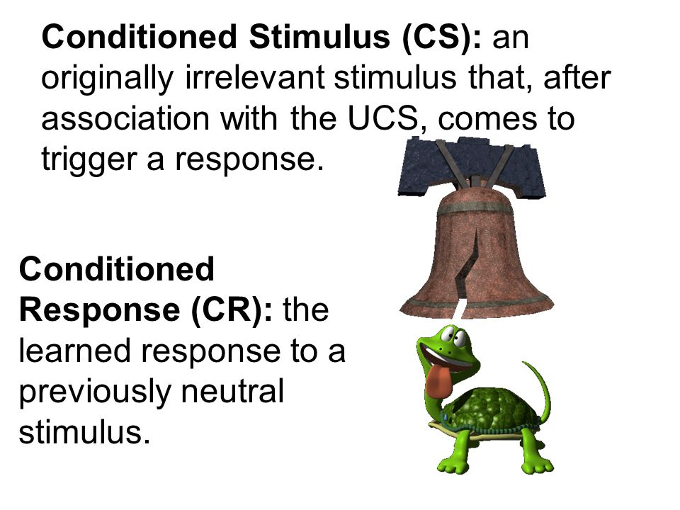 Conditioned Stimulus (CS): an originally irrelevant stimulus that, after association with the UCS, comes to trigger a response.
