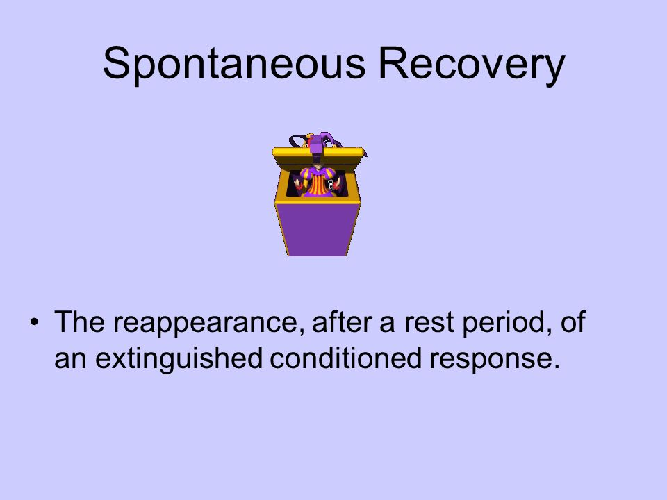 Spontaneous Recovery The reappearance, after a rest period, of an extinguished conditioned response.