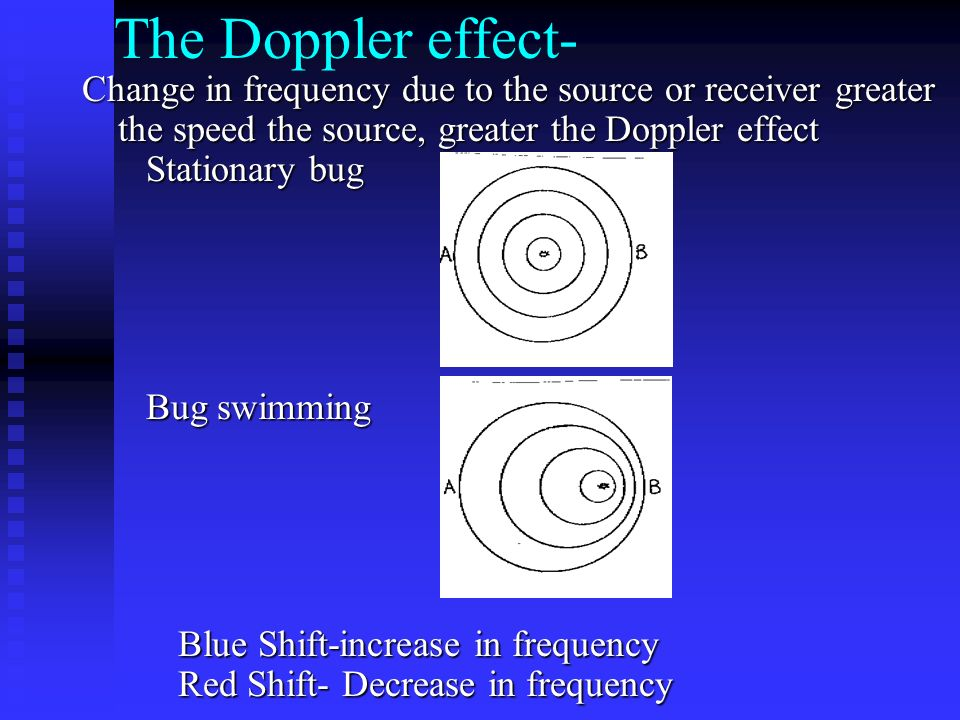 The Doppler effect- Change in frequency due to the source or receiver greater the speed the source, greater the Doppler effect Stationary bug.