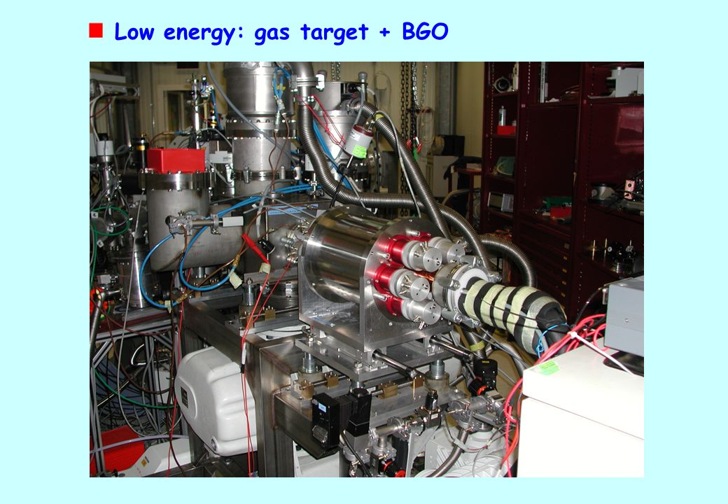 Low energy: gas target + BGO