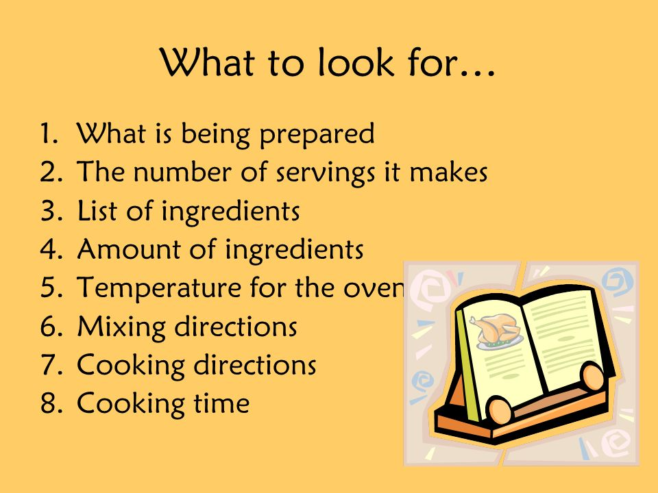 What to look for… What is being prepared
