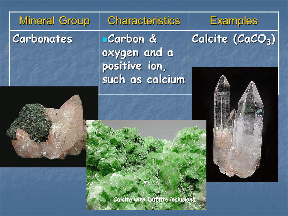 Carbon & oxygen and a positive ion, such as calcium Calcite (CaCO3)